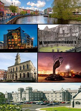 Sligo, wikipedia Clockwise from top: View of Garavogue River along JFK Parade, Sligo Abbey, IT Sligo Main Entrance, Clarion Hotel, City Hall, Glasshouse Hotel.