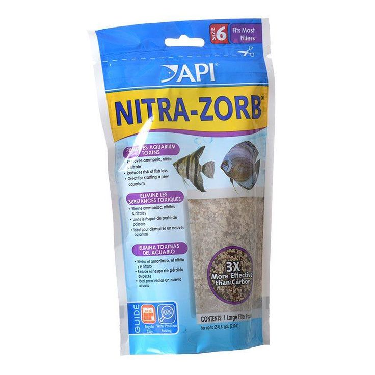 Aquarium Pharmaceuticals Nitra-Zorb Size 6 is composed of natural and synthetic ion-exchange resins in a convenient pouch. Selectively removes ammonia, nitrite and nitrate from freshwater aquariums. Completely rechargeable with API Aquarium Salt.