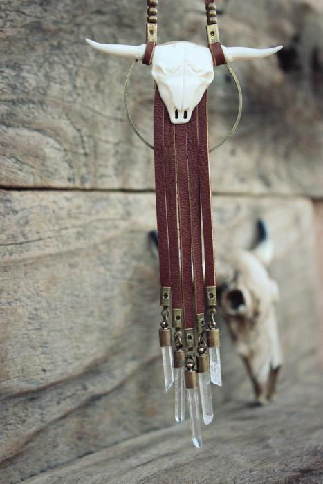 MOON LIGHT Bohemian Leather Necklace by WildPeopleFreeSpirit