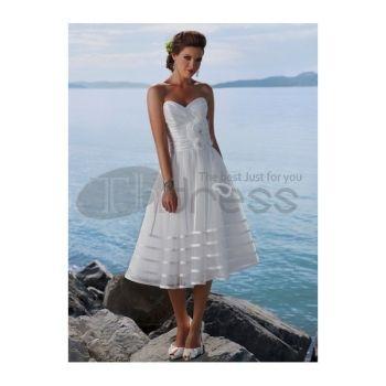 Abiti da Sposa Corti-Organza senza spalline scollatura di abiti da sposa corti