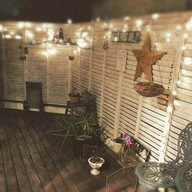 #Green #Garden #庭 #わが家 #ウッドフェンス #ウッドフェンスdiy #DIY #ウッドデッキ #Gallup #イルミネーション #バーンスター #ティンバーンスター#星 #star #スター #星好き #ジャンクインテリア #湘南 #茅ヶ崎 #インテリア #ジャンク#ハンギンググリーン ☆夜の庭☆