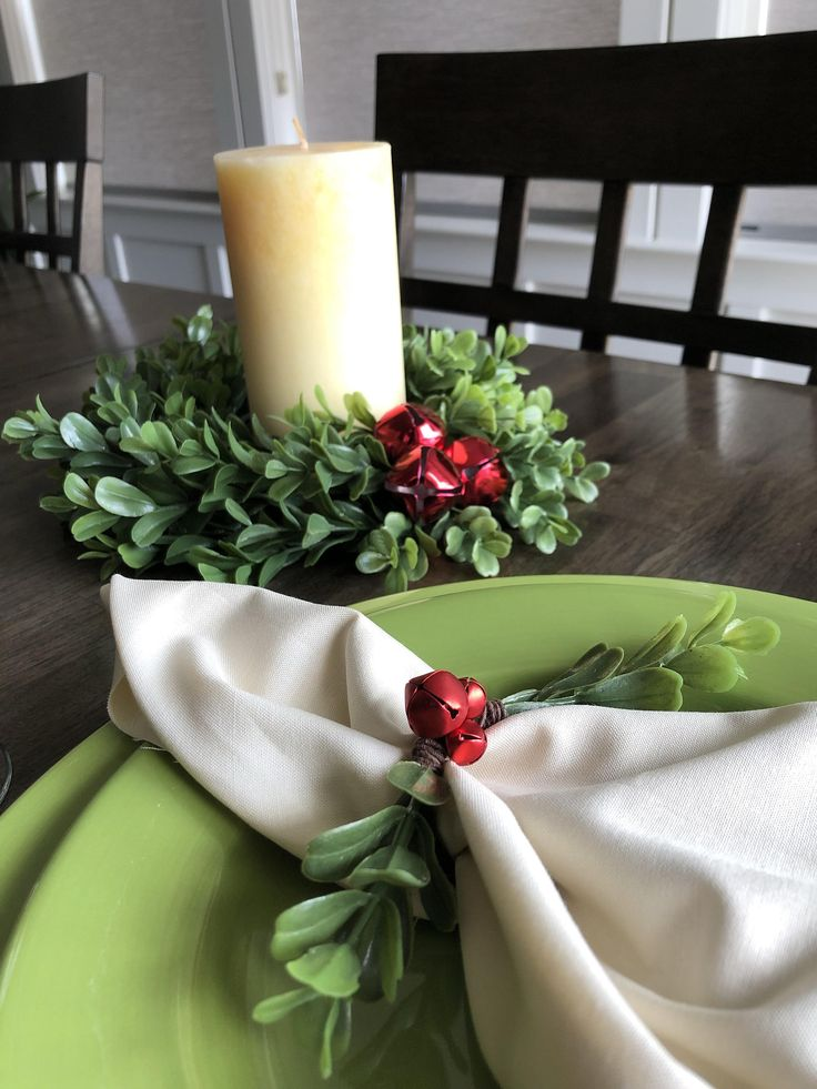 10″ Boxwood Centerpiece Wreath & 4 Napkin Holders,Wedding Centerpiece,Christmas Centerpiece,Napkin Holders,Rustic Centerpiece,Winter Decor