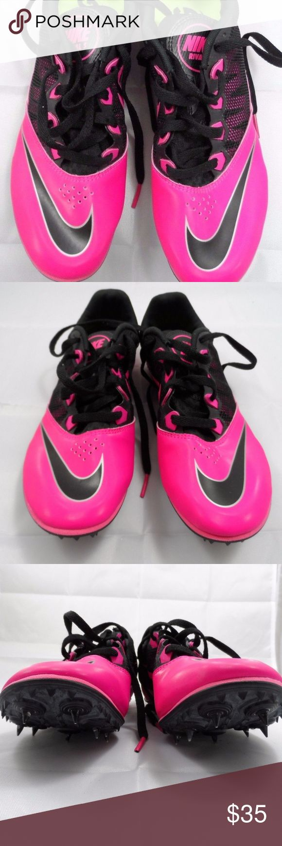 Nike Zoom Rival S Sprint Spikes NIKE Zoom Rival S7 Sprint Spikes Women's Shoes Pink Black CLEATS 615998-600 8.5 Nike Shoes Athletic Shoes