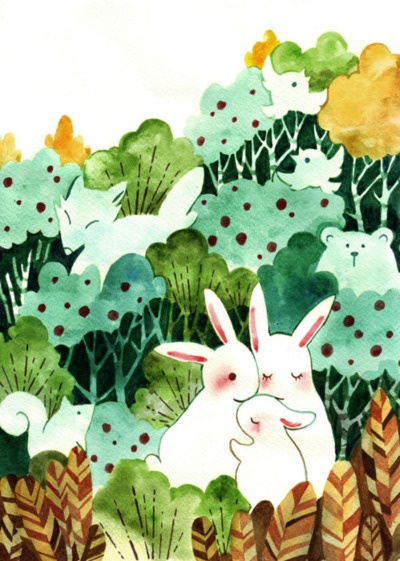Adorable woodland scene with bunnies by Sanikoko - from Gordy Wright's inspiration blog (his art has lots of birds, rabbits, foxes, in a sketch & watercolor style)