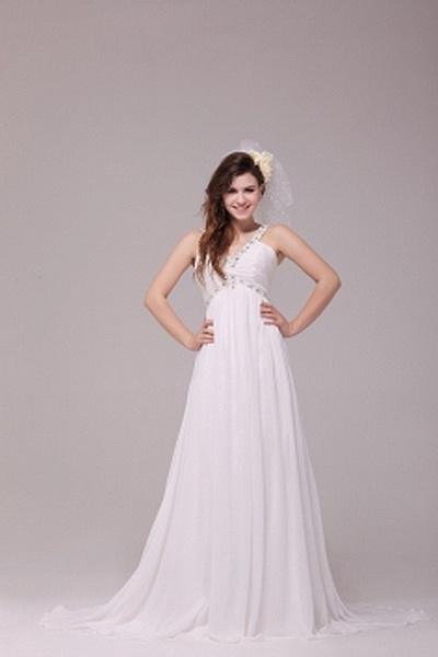 Weekly Special Product: V-Neck Weißem Chiffon Hochzeitskleid ma0645 - Order Link: http://www.modeabendkleider.de/v-neck-weissem-chiffon-hochzeitskleid-ma0645.html - Farbe: White; Silhouette: A-Line; Ausschnitt: V-Ausschnitt; Verzierungen: Beading, Drapier
