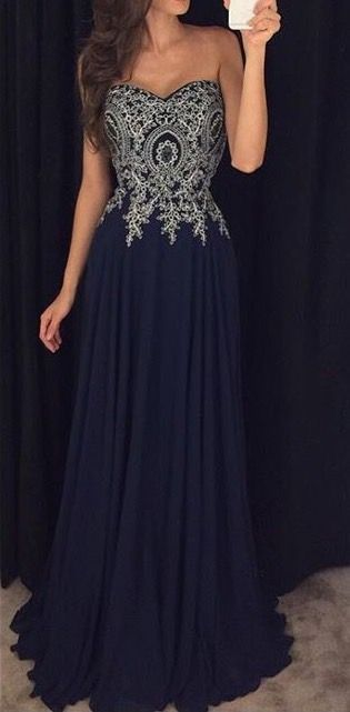 Elegant navy blue chiffon prom dress with beautiful top details, long sweetheart dress for prom 2016