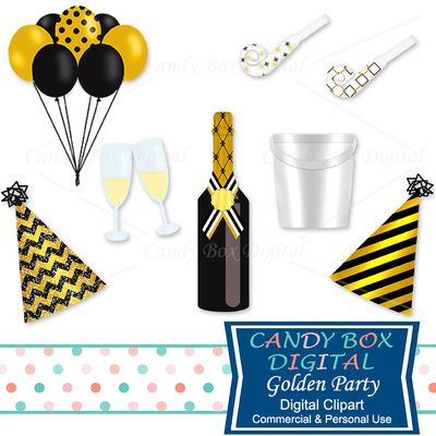 Gold Party Clipart New Year Champagne Clip Art