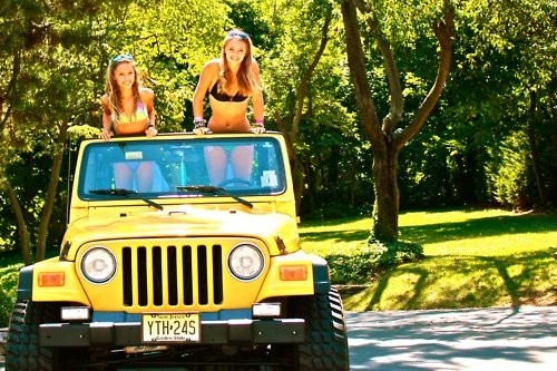 Dream jeep, 3 inch lift, traction tires, yellow two door, black soft top, 6cyl, 5 speed...amen. Bridget+jeep=complete.