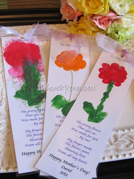 Mother's Day Bookmark - Finger Paint  flower, students can type their own message (short)