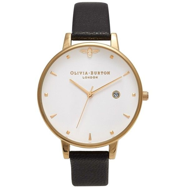 Women's Olivia Burton Queen Bee Leather Strap Watch, 38Mm (830 ILS) ❤ liked on Polyvore featuring jewelry, watches, yellow gold watches, leather-strap watches, gold jewellery, gold jewelry and olivia burton