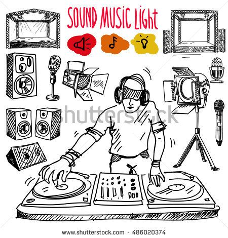 Sound, music and light vector set in hand-drawn style. Microphone, spotlight, stage. DJ and console.