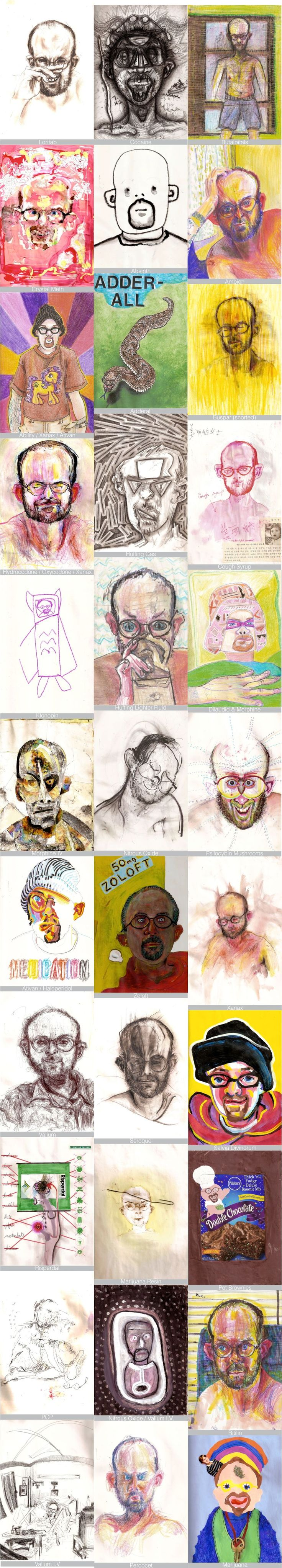 """Self Portraits under influence"" / Bryan Lewis Saunders / USA"