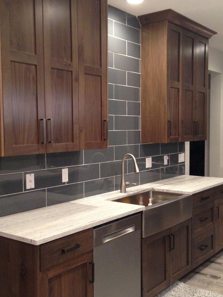 Rustic Walnut Kitchen With Shaker Door Kitchen Cabinet Door Styles Kitchen Cabinet Styles Brown Kitchen Cabinets