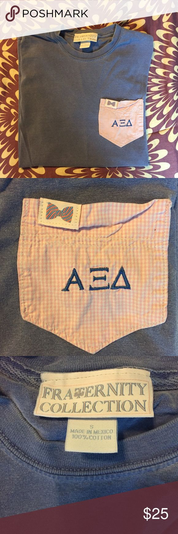 Vineyard Vines Alpha Xi Delta T-Shirt Vineyard Vines fraternity collection T-Shirt in violet. Alpha Xi Delta sorority letters embroidered on pink checkered pocket. Excellent condition! Vineyard Vines Tops Tees - Short Sleeve
