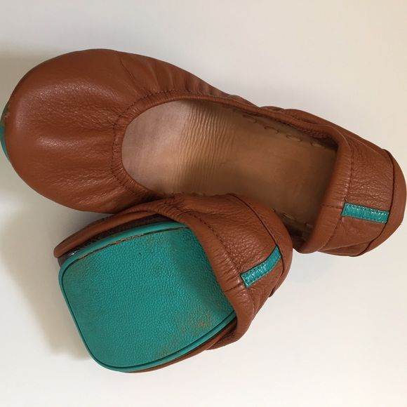 Tieks foldable flats Tieks foldable flats for sale!! - normal wear and tear ((see photos)) - size 7 - cognac Tieks Shoes Flats & Loafers