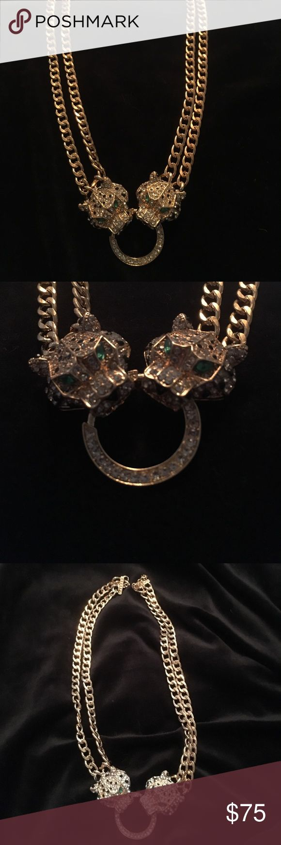 "NWOT Jag. Necklace NWOT- Gold  Tone Jaguar Swarovski Crystal Green Eye Necklace W/ Swarovski Black Crystals On His Head & Swarovski Crystals Through Out Head.    18""Length & 2"" extra in space. Ask Questions!!! its gorgeous!!                        💐HAVE RING TOO... At right Price... They Are Mine..... Jewelry Necklaces"