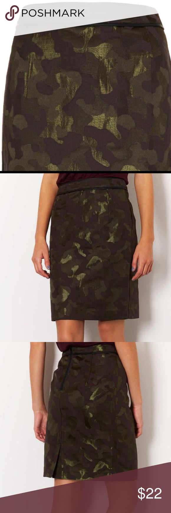 """Topshop Camo Jacquard Pencil Skirt in multi color Khaki jacquard camo pencil skirt mult colors. Black faux leather trim around waist. Back zipper closure and slit. Fabric: 59% cotton and 41% polyester. Measurements: 15"""" waist, length 21.5"""". Unlined. Machine washable. Skirt has a few flaws at the side seams. Topshop Skirts Pencil"""