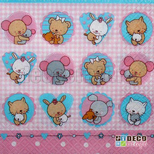 Servetele pentru copii : Servetele - Pui de animale (roz) - 33x33cm, 4 buc