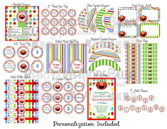 UPRINT  Elmo Birthday PARTY PACK  12 by partycreationsbella, $25.00