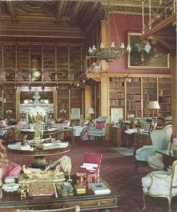 The Library At Alnwick Castle In Northumberland England The Second Story With Brass Railings