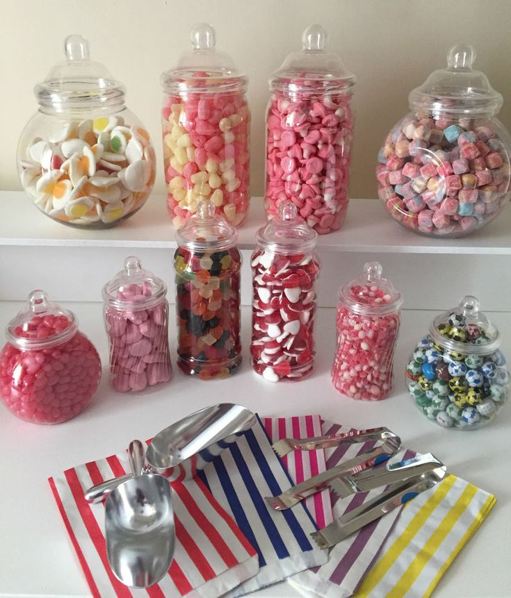 """Plastic Victorian Style Sweet Jars. for Do-It-Yourself Candy Buffet. · 100 Candy Stripe bags in the colour of your choice. 2 x 2 Litre Round Victorian Jars - 11""""Tall including lid, neck diameter 11cm. 