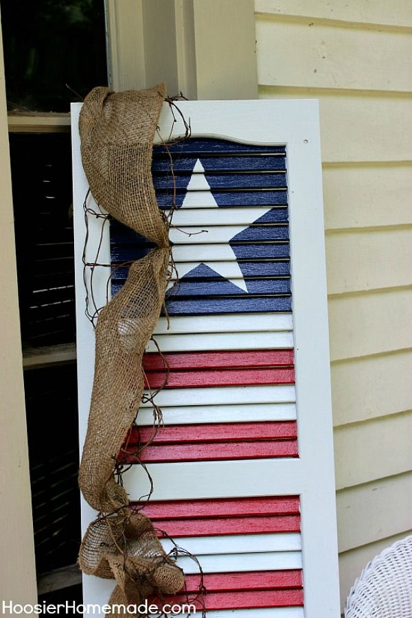 Welcome your guests all Summer long with this fun Patriotic Shutter! With just a few simple supplies, you can take an old shutter and make it new again! Click on the photo to see the instructions.