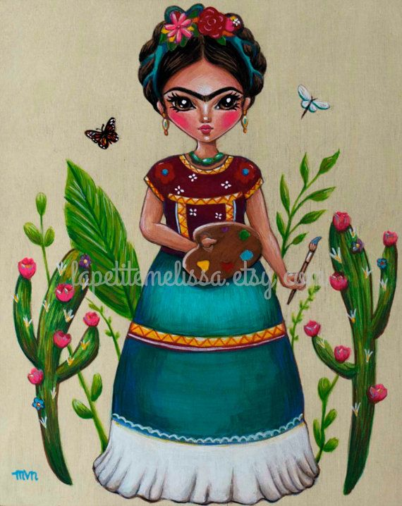El Artista- Frida Kahlo inspired illustration with cactus, whimsical art print by Melissa Victoria Nebrida