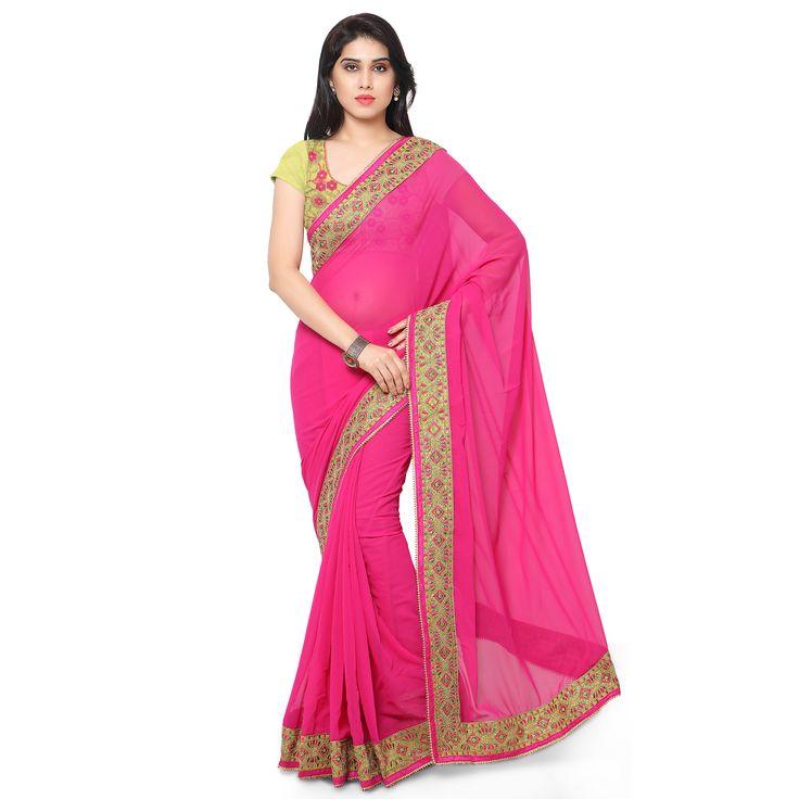 Kapadewala Designer Pink Saree For Women