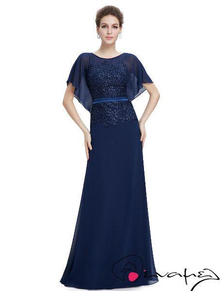 Μεταξωτό σιφόν Βραδυνό Φόρεμα σε βαθύ μπλε χρώμα με γκιπούρ δαντέλα σε όλο το μπούστο.
