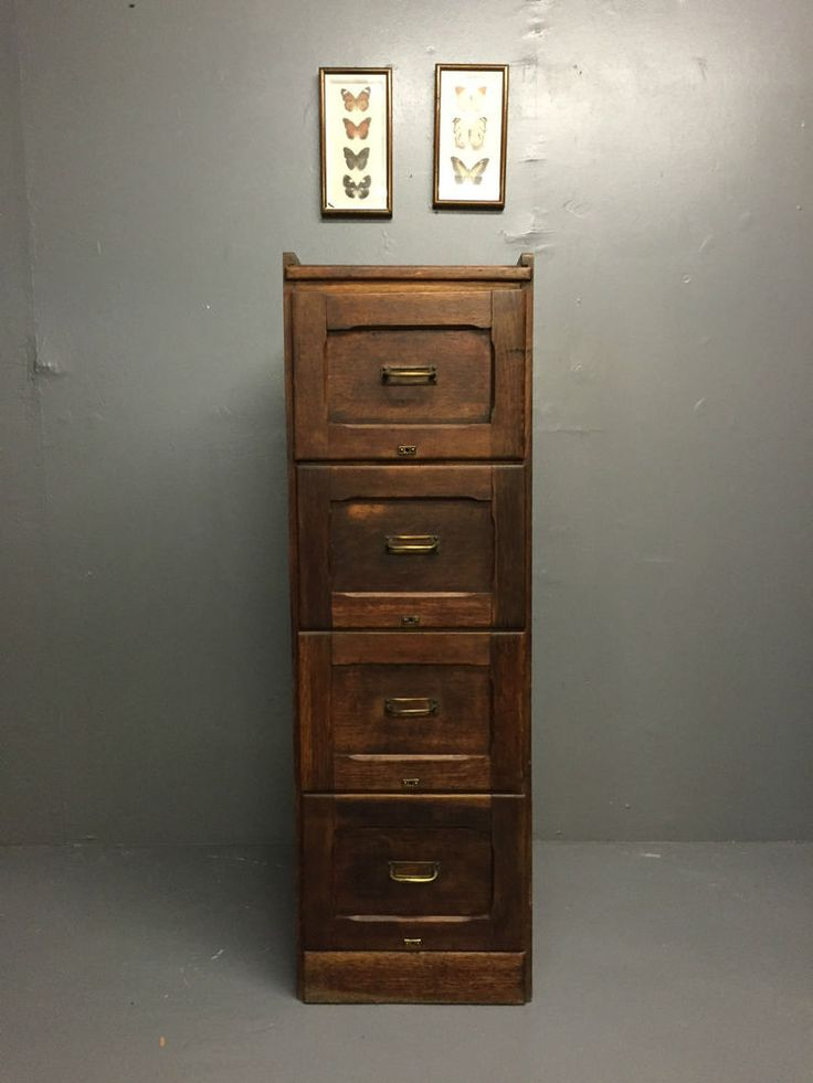Superb Vintage Antique Industrial Oak 4 Drawer Office Storage Filing Cabinet in Business, Office & Industrial, Office Equipment & Supplies, Office Furniture | eBay