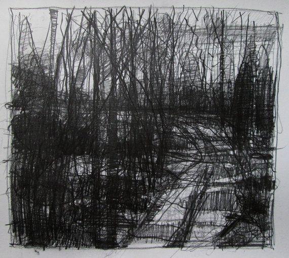 harry stooshinoff, Nightfall Original Pencil Landscape Drawing by Paintbox on Etsy