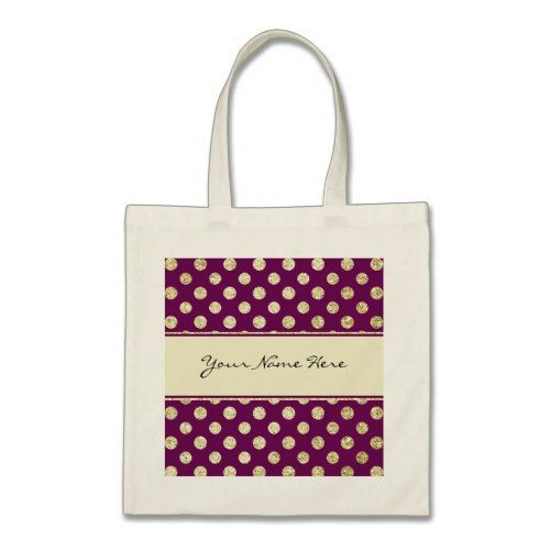 Gold Glitter Polka Dot on Personalized Purple Tote Bag