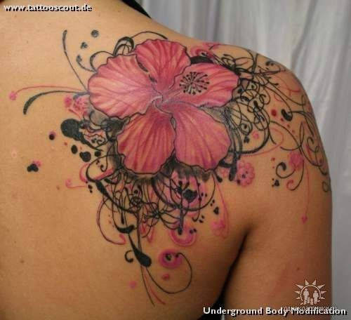 Shoulder Flower: Tattoo Ideas, Body Art, Hibiscus Flower, Flower Tattoos, Shoulder Tattoo, Tatoo, Ink
