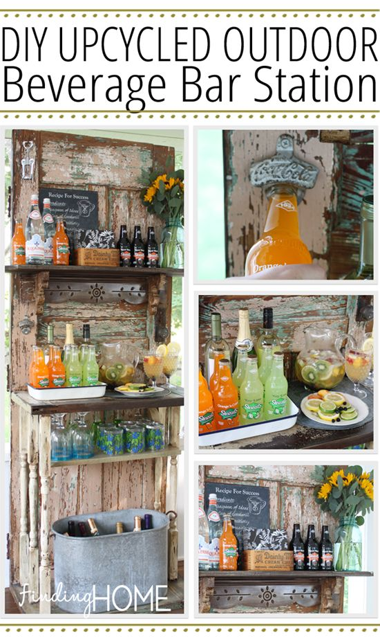 I am cracking up that two of my contributors came up with a similar idea in creating an upcycled beverage station/ potting shed idea. Apparently all the cool kids are doing it. I need to get on the bandwagon apparently. Tricia came up with a hutch and old desk revamp and today Laura is going to show you how she took an old door and made her own version of a beverage bar station. Laura can rock the doors. If you missed last month's post she made a kitchen herb garden out of an old door. Check…