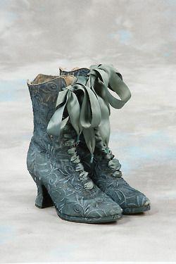 Blue brocade Victorian boots.