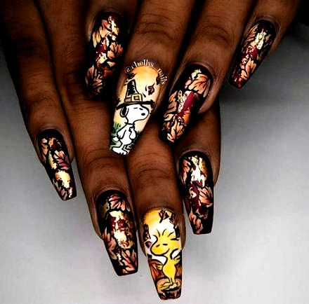 best nails fall coffin thanksgiving ideas  nails in 2020