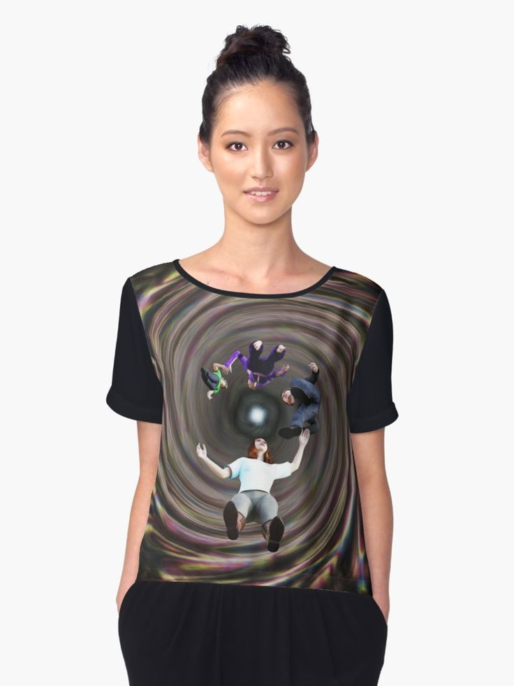 Through the Wormhole Toward the Light Chiffon Tops by Terrella.  A question mark formation of people traveling through a rainbow colored wormhole tunnel toward the bright light at the end. • Also buy this artwork on apparel, phone cases, home decor, and more.