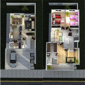 Planos de Casas y Plantas Arquitectónicas de Casas y Departamentos: Plano de casa de dos plantas con recibidor y terraza