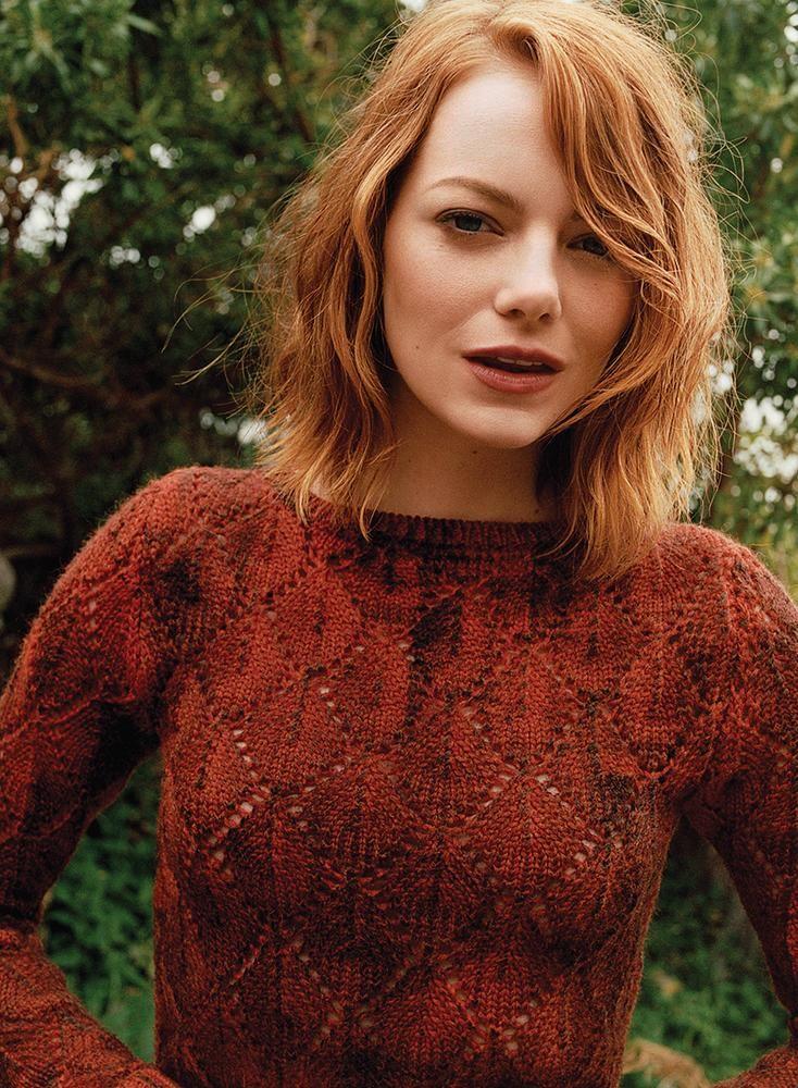 Emma Stone by Angelo Pennetta for WSJ Magazine July/August 2015 - Bottega Veneta wool sweater