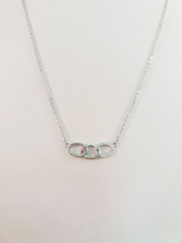 Oval Necklace , Triple Oval Necklace , CZ Open Oval Pendant , Women Dainty Charm , White Cubic Zirconia , Sterling Silver ,White Gold Plated by JunisJewelry on Etsy