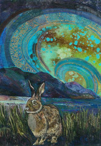 Crouching Hare by Rachel Wright Machine embroidery at it's very best. Really using stitch as paint...love it