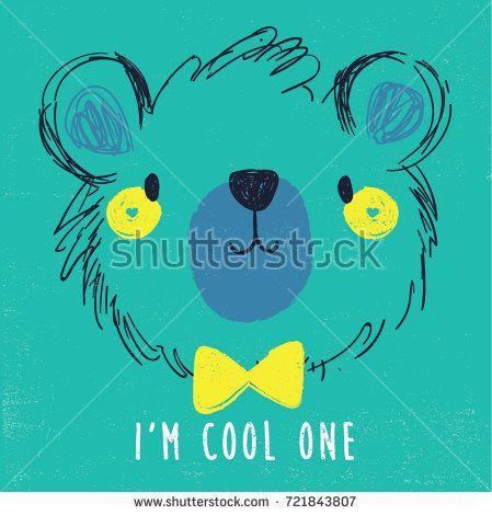 cute bear face illustration as vector for baby tee print