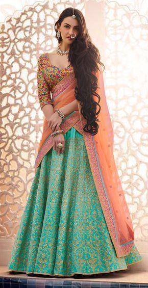 Gorgeous Green Designer Embroidered Phantam Silk Lehenga Choli