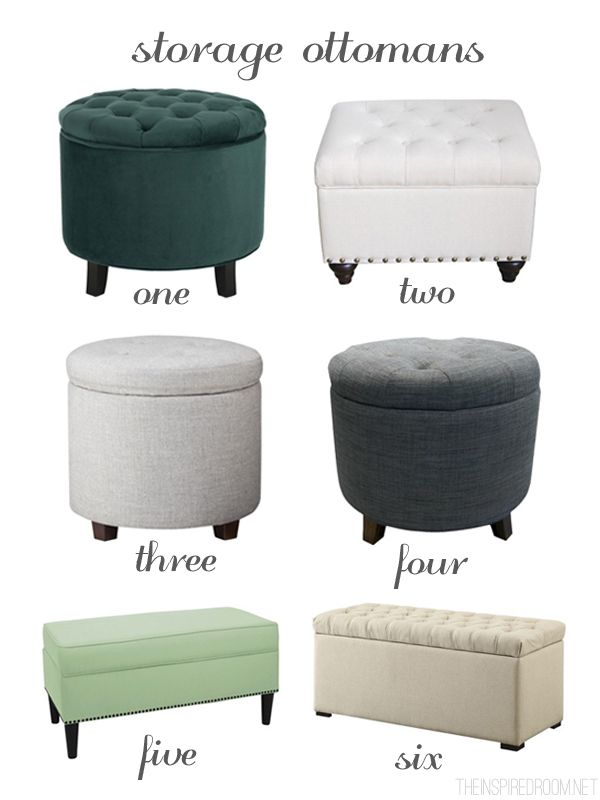 Storage Ottoman Round Up - Ideas for Decorating a Small Bedroom