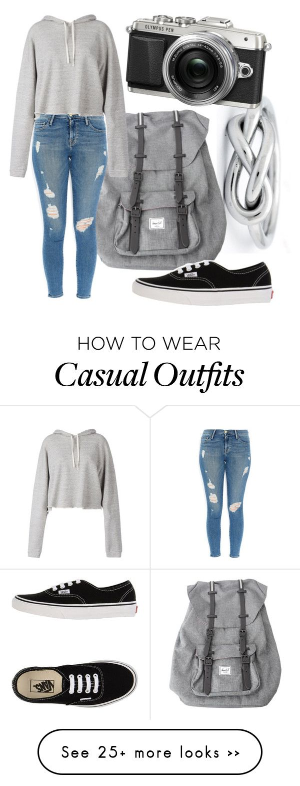 """Casual Photographer"" by thatonefabulouspotato on Polyvore featuring Herschel, Frame Denim, Faith Connexion and Vans"