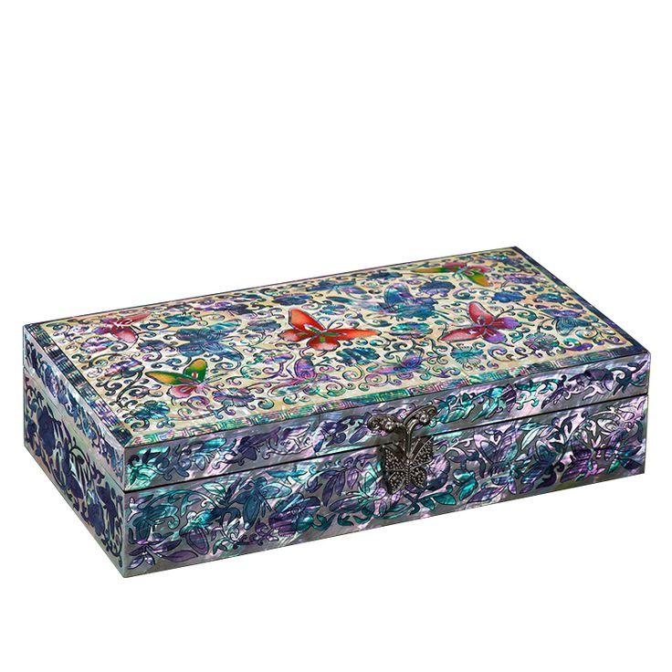 [Shell Carving] Beautiful Butterfly Jewelry Gift Box A Bijoux Cajas Para Joyas Cardboard Necklace Bracelet Jewellery christmas