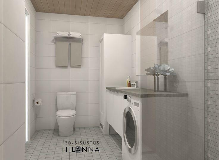 3D- stailaus ja sisustussuunnittelu ennakkomarkkinoinnissa olevaan kohteeseen / moderni vaaleanharmaa-valkoinen kylpyhuone, harmaa mosaiikkilaatta suihkun taustalla, mattavalkoinen laatta 25x40/ Kone ja Rakennuspalvelu Kara Oy, Paimio/ 3D-sisustus Tilanna, sisustussuunnittelija Jyväskylä