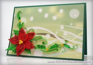 Poinsettia Quilling Card for Christmas