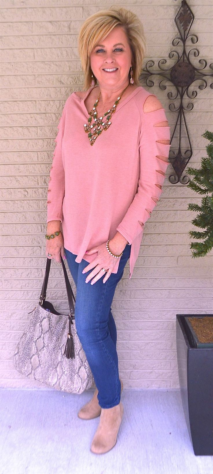 50 IS NOT OLD   COMFORTABLE AND STYLISH   Sweatshirt   Unique Details   Statement Necklace   Fashion over 40 for the everyday woman