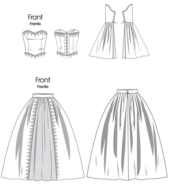 pattern for historical costume corset with tie up back and skirt, you can always use another skirt patttern
